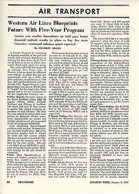 1948 Aviation Article Western Air Lines Financial Future Business Routes Plans