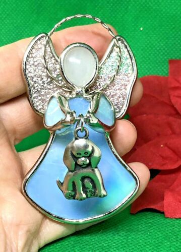Ganz Angel Puppy Dog Charm Stained Blue Glass Ornament Silver