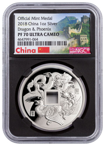 2018 China Dragon & Phoenix 1 oz Silver PF Medal NGC PF70 UC Blk Great SKU52126