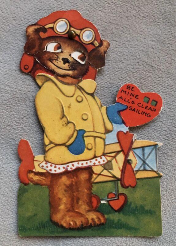 Dog Pilot Mechanical Valentines Card, Vintage, Used