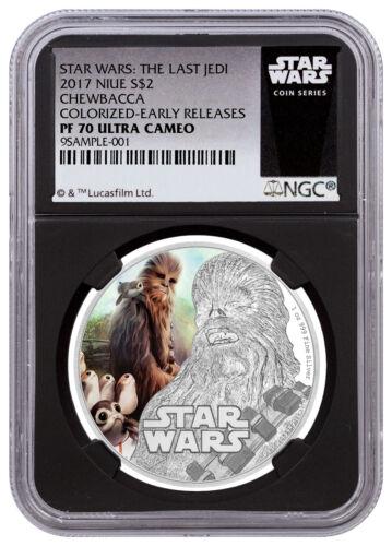 2017 Niue Star Wars Last Jedi Chewbacca 1oz Silver NGC PF70 UC ER Black SKU49206