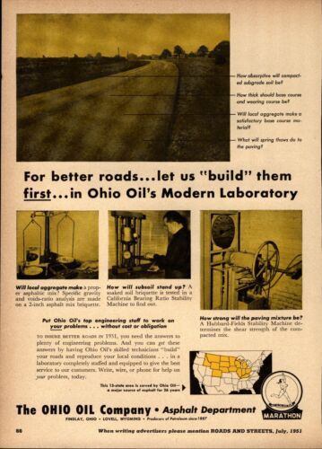 1951 Ohio Oil Company Print Advertisement: Marathon Oil Findlay Ohio Laboratory