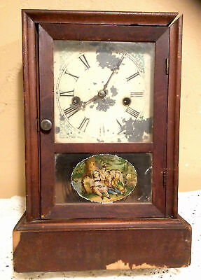 Antique Waterbury Clock Co. Wind Up Cottage Mantel Chime Clock W/Pendulum