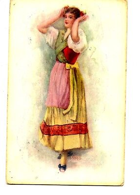Swiss Girl Outfit (Drawing of Pretty Lady-Girl in Swiss Dancer Outfit-Costume-Vintage)