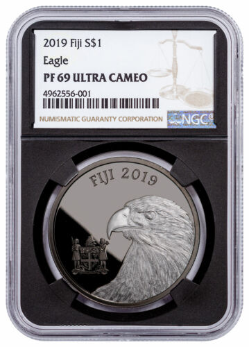 2019 Fiji Blackened Eagle 1 oz Ruthenium Plt Silver $1 NGC PF69 UC Blk SKU57999