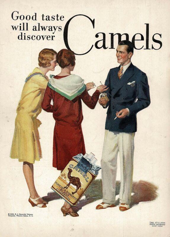 1920s BIG Original Vintage Camel Cigarettes Mens Womens Fashion Art Print Ad