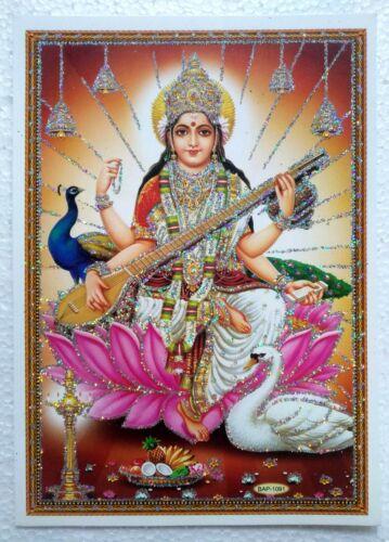 High Quality Paper Glitter Poster Hindu Goddess Mata Maa Saraswati  5 x 7 inch