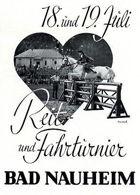 Reitturnier Bad Nauheim Reklame 1936 Reit- und Fahrturnier Werbung Pferde +