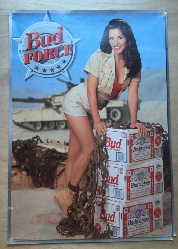 1990s Budweiser Bud Force pinup girl beer poster 19x17