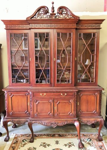 Solid Mahogany Breakfront Chippendale China Hutch Bookcase