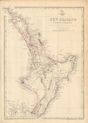 1863  LARGE ANTIQUE MAP - DISPATCH ATLAS- NEW ZEALAND, NORTH ISLAND,EAHEINOMAUWE
