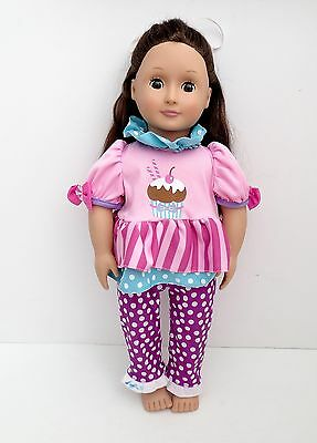 """Your Generation By Battat 18"""" Doll Brunette With Brown Sleepy Eyes"""