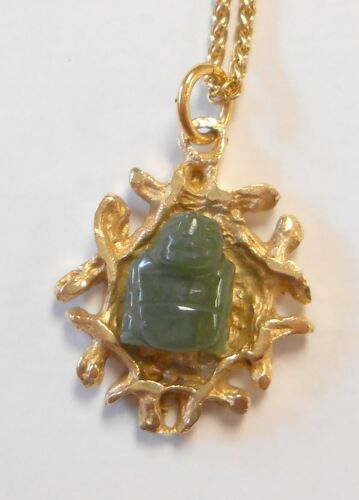 """Vintage Signed TC 14K Yellow Gold Carved Jade Buddha Pendant w/ 18"""" Necklace"""