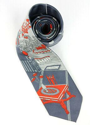 1960s – 70s Men's Ties | Skinny Ties, Slim Ties VTG 1960's Barwyn Originale Scenic Country Castle Tie Necktie Gray Red - 54