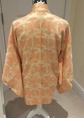 Vintage Japanese Yellow/Orange Silk 'Palm Tree' SHIBORI Kimono Haori Jacket MED