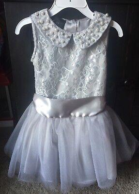 Biscotti Silver Girls Dress Beaded Collar Tutu Skirt Drop Waist Sz -