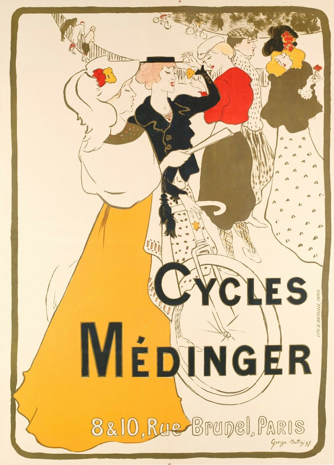 Original Vintage Bicycle Poster - George Bottini - Cycles Medinger - Paris 1897 (Used - 8800 USD)