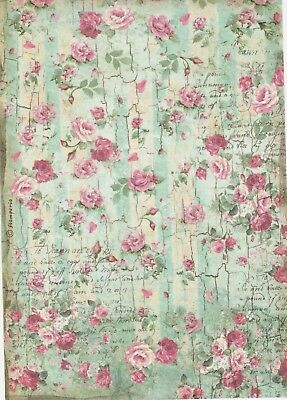 - Rice Paper for Decoupage Scrapbook Craft Sheet Pretty Roses Green