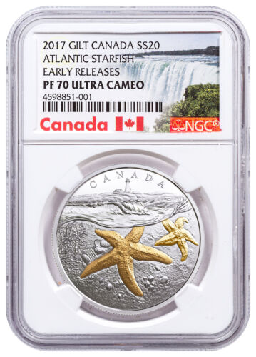 2017 Canada Sea Atlantic Starfish 1 oz Silver Gilt $20 NGC PF70 UC ER SKU49409