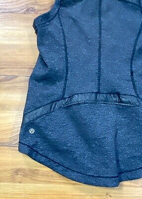 LULULEMON Charcoal Grey VGUC Vest Lightweight Women's Size 6 Retail $108 Zip Poc