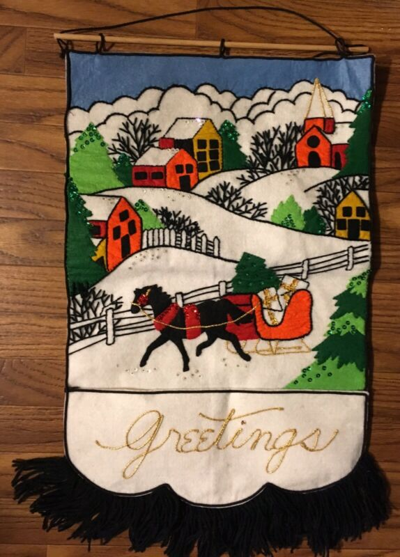 Vintage Handmade Felt Greetings Sleigh Christmas Mail Card Wall Holder Decor
