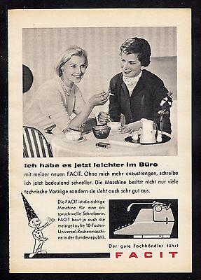 3w389/ Alte Reklame - von 1958 - FACIT Schreibmaschinen