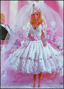 Crochet wedding dress pattern ebay barbie sindy dolls clothes wedding dress bridal gown knitting crochet pattern junglespirit Gallery