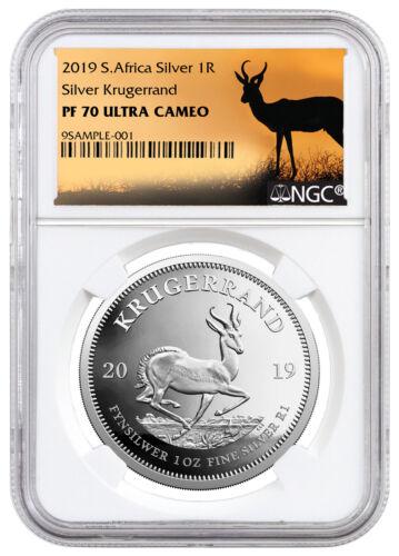 2019 S Africa 1oz Proof Silver Krugerrand NGC PF70 UC Springbok Label SKU56656