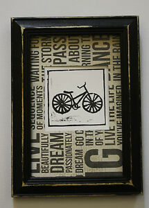 Black-timber-frame-framed-picture-art-lino-print-shabby-chic-retro-BIKE-vintage