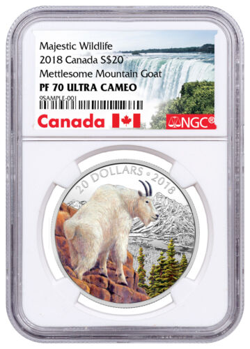 2018 Canada Wildlife - Mettlesome Mountain Goat 1 oz Silver NGC PF70 UC SKU53399