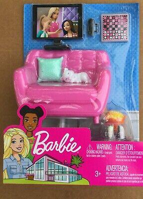 Barbie Indoor Furniture Living Room Set with Kitten NEW