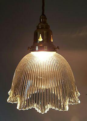 Edwardian Antique Brass Holophane Ceiling Lamp Light