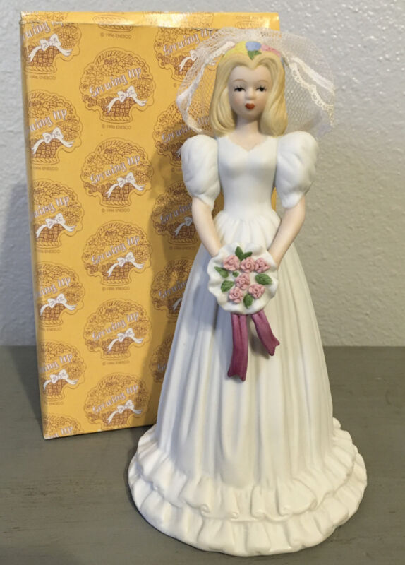 Enesco Growing Up Birthday Girls 1996 BRIDE Blonde/Brunette Figurine Veil Roses