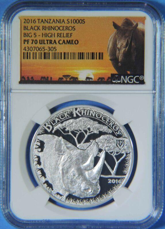 2016 Tanzania Big 5 Black Rhinoceros 1000 Shillings Silver Coin NGC PF70 UCAM