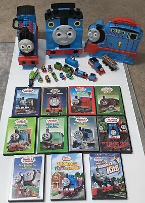 Thomas The Train and Friends Lot - 11 DVDs, Toy Trains, Books, and 3 Toy Cases