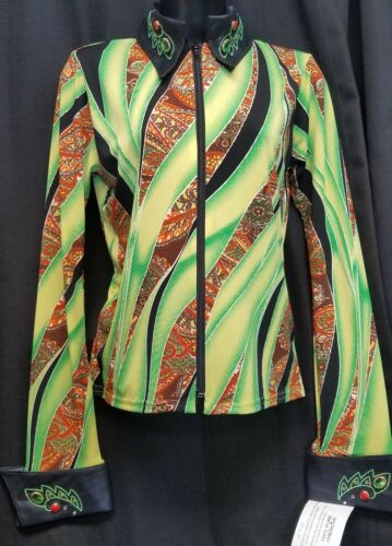 YOUTH ladies LIME GREEN Black Rust Gold RAIL SHIRT size XS NWT by 1849