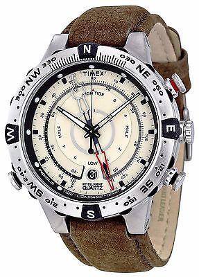 Temp Compass Mens Watch - Timex Men's Intelligent Quartz Compass Tide Temp Silver Case Watch T2N721