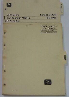John Deere Tractor Service Manual Power Units 92 145 217 Series Parts Catalog