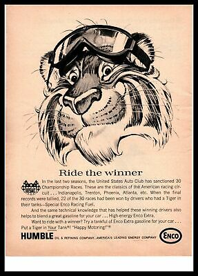 1966 Humble OIl Enco Gas Tiger In Your Tank Racing Goggles USAC Winners Print Ad