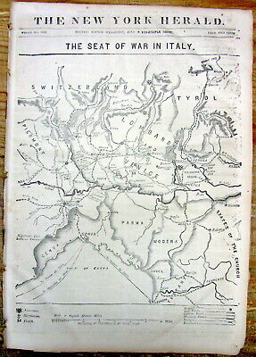 Best 1859 display newspaper w large detailed MAP& headlines UNIFICATION OF (Best Map Of Italy)