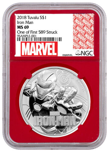 2018 Iron Man 1 oz Silver Marvel Series $1 NGC MS69 1st 589 Struck Red SKU53503