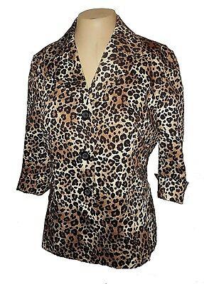 New Blazer, Le Suit Petite, Business Cotton 3/4-Sleeves Cheetah-Leopard  10P