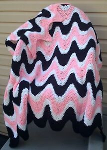 Black, Pink & White Exaggerated Ripple Afghan / Throw Crochet Pattern