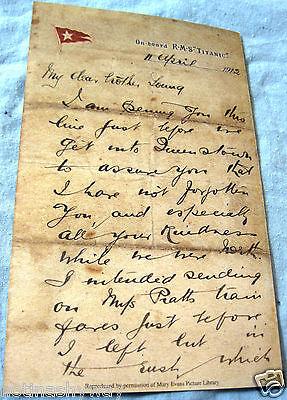 TITANIC Letter Vintage Old Retro Antique Ephemera Ship Disaster White Star Line