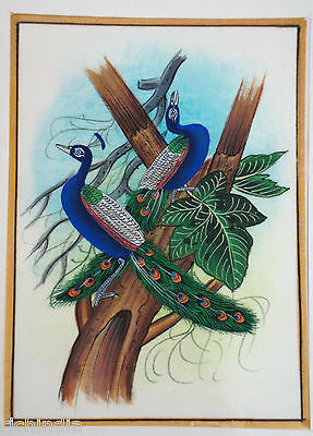 Bird painting tree forest miniature Painting artist nature paper X-mase gift Art