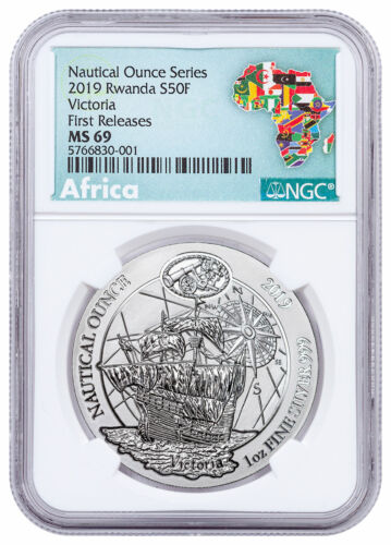 2019 Rwanda Nautical Ounces 500th Anv Victoria 1 oz Silver NGC MS69 FR SKU58922