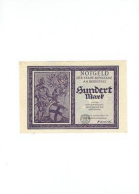 Rupertus 134.12a  Notgeldschein Stadt Konstanz 100 Mark 23.10.1922 mit Stempel