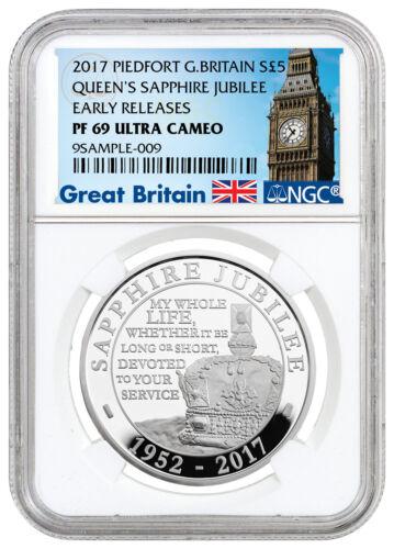 2017 Britain Elizabeth II Sapphire Jubilee Piedfort Silver NGC PF69 ER SKU45922