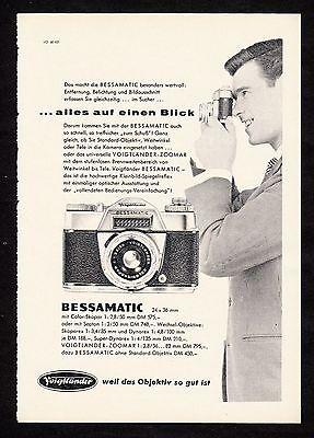 3w1689/ Alte Reklame von 1960 - Voigtländer Fotoapparate - BESSAMATIC
