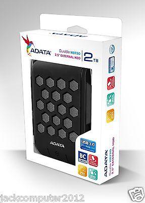 Brand New Adata DashDrive HD720 Waterproof USB 3.0 External Hard Drive 2TB BLACK